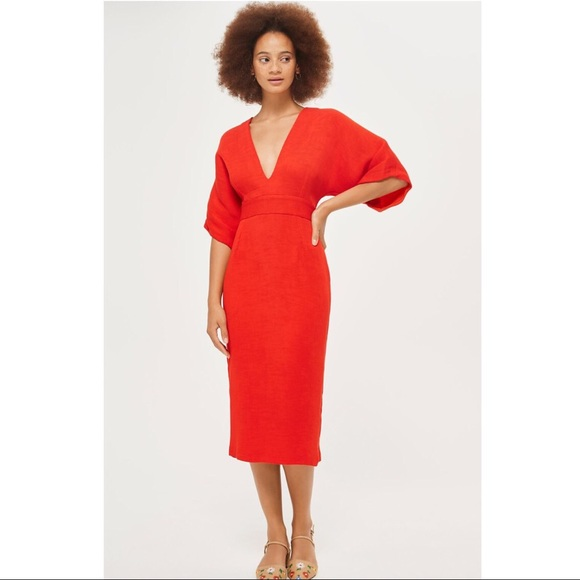 b0df303ddb Topshop textured plunge open back dress 10